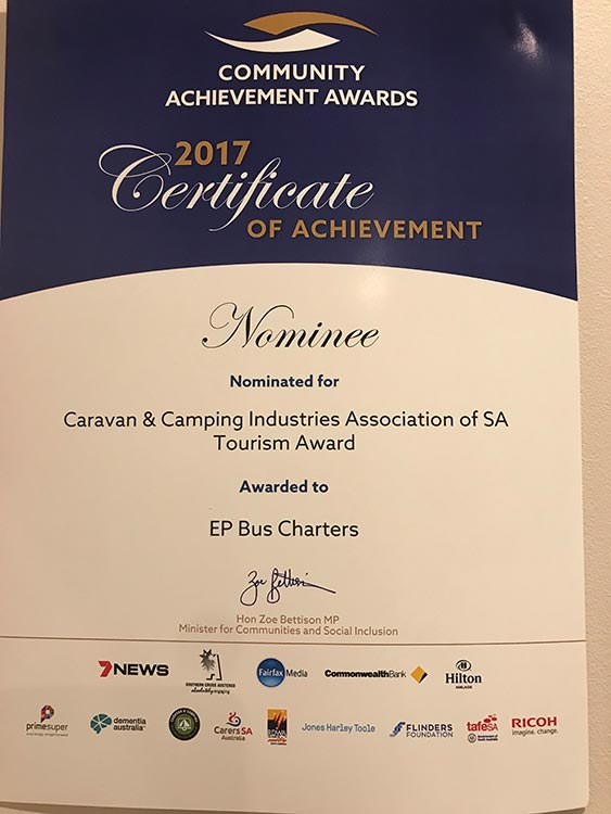 Caravan & Camping Industries Association of SA Tourism Award